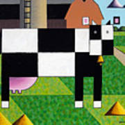 Cow Squared With Barn Left Art Print