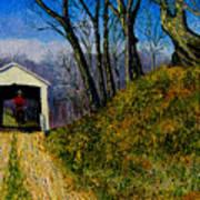 Cowboy And Covered Bridge Art Print