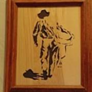 Cowboy And Saddle Art Print