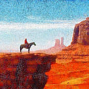 Cowboy At Monument Valley In Utah - Da Art Print
