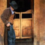 Cowboy By Saloon Doors Art Print