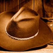 Cowboy Hat - Sepia Art Print