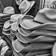 Cowboy Hats Black And White Art Print