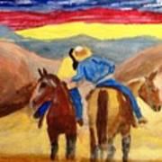 Cowboy Kisses Cowgirl Art Print