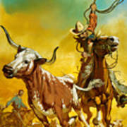 Cowboy Lassoing Cattle  Art Print by Angus McBride
