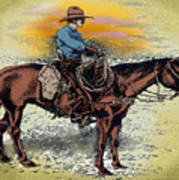 Cowboy N Sunset Art Print