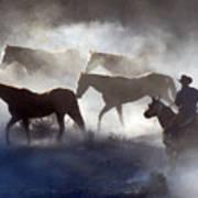 Cowboy Rounding Up Four Horses Art Print