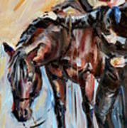 Cowboy With His Horse Art Print