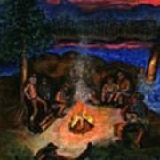 Cowboys Mountain Camp At Night Art Print