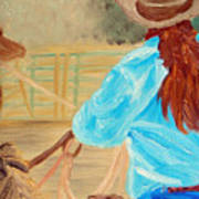 Cowgirl Roping Art Print