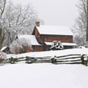 Cozy Snow Cabin Art Print