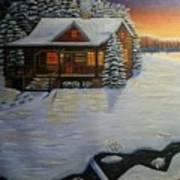 Cozy Winter Cabin  Art Print