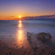 Crab Trap Sunset Le Art Print
