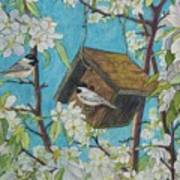 Crabapple Chickadees Art Print