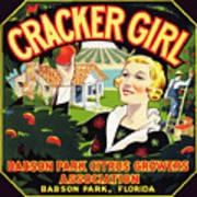 Cracker Girl Citrus Crate Label C. 1920 Art Print