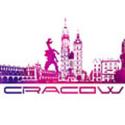 Cracow City Skyline Purple Art Print