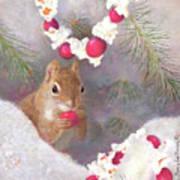Cranberry Garlands Christmas Squirrel Art Print