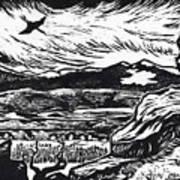 Crane Flying Past The Cedar Breaks Art Print