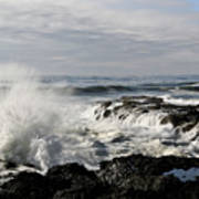 Crashing Waves At Cape Perpetua Art Print