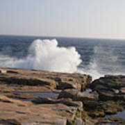 Crashing Waves On Maine Coast Rocks  Art Print