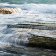 Crashing Waves On Sea Rocks Art Print
