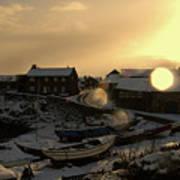 Craster Harbour In Winter 2 Art Print