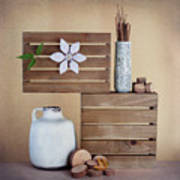 Crates With Flower Still Life Art Print