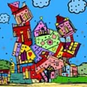 Crazy Building Popart By Nico Bielow Art Print