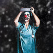 Crazy Doctor Clown Laughing In Rain Art Print