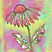 Crazy Flower With Funky Leaves Art Print