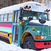 Crazy Painted Old School Bus In The Snow Art Print