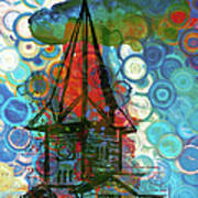 Crazy Red House In The Clouds Whimsy Art Print