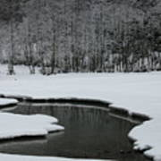 Creek In Snowy Landscape Art Print