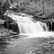 Creek Merge Waterfall In Black And White Art Print