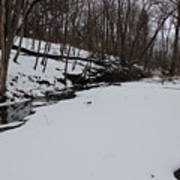 Creeks Battles The Snow And Cold To Remain Flowing. Art Print