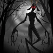Creepy Nightmare Waiting In The Dark Forest Art Print