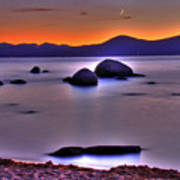 Crescent Moon Above Tahoe Art Print