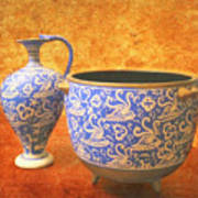 Crete Blue And Gold Jug And Bowl Art Print