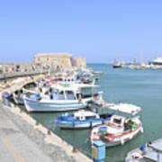 Crete Island Harbour  Art Print
