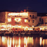 Crete. Rethymnon Harbor At Night Art Print