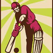 Cricket Sports Batsman Batting Retro Art Print