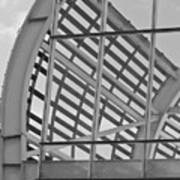 Cricket Stadium Architecture Black And White Art Print