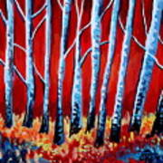 Crimson Birch Trees Art Print