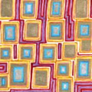 Crimson Gold And Squares  Art Print