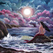 Crimson Mermaid Art Print