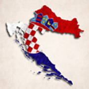 Croatia Map Art With Flag Design Art Print