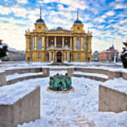 Croatian National Theater In Zagreb Winter View Art Print