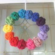 Crochet Rainbow Wreath Art Print