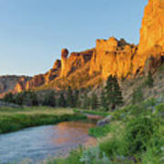 Crooked River And Monkey Face At Smith Rock Art Print