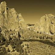 Crooked River At Smith Rock State Park Sepia Art Print